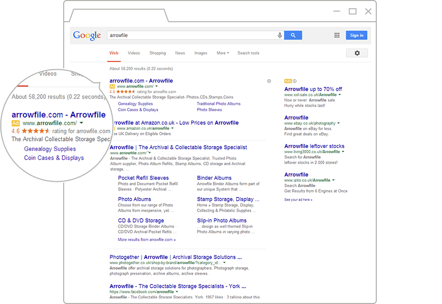 Google stars in search result pages