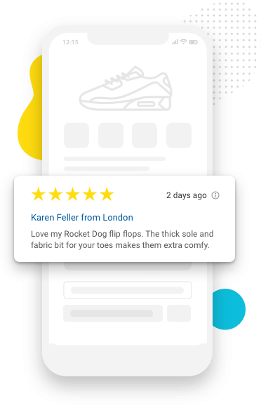 Product reviews seen through a mobile view